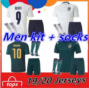 Italy Adult Kit + Socks maillot de foot 19 20 European league Cup soccer Jersey Verratti BONUCCI INSIGNE 2020 italy Football Shirt