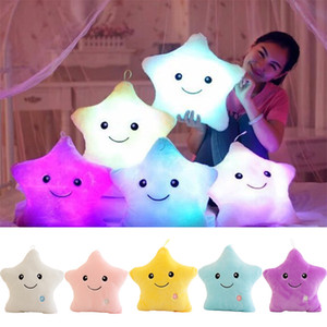 Luminous Glowing Pillow Star Led Light Soft Stuffed Plush Pillow stars Doll Colorful Night Light Kids Cushion Christmas Toys Birthday gifts on Sale