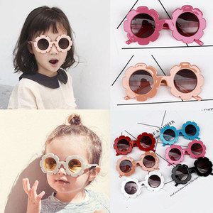 Wholesale 5pcs Cute Sunflower Children Kids UV400 Sunglasses Fashion Baby Girl Anti ultraviolet Sunglasses Outdoor Travel Glasses Accessories