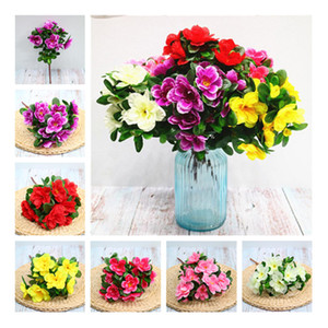 Wholesale flowers azaleas resale online - Fake Rhododendron stems bunch quot Legth Simulation Azalea Green Leaf for Wedding Home Decorative Artificial Flowers