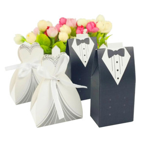 Wholesale 50pairs Bride And Groom Dresses Wedding Candy Box Gifts Favor Box Wedding Bonbonniere DIY Event Party Supplies