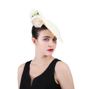 ingrosso sinamay cappello bianco-Ivory Sinamay Disc Fascinator Hat UK High end Fiori bianchi Fascinators Abito da sera Accessori per passerella per feste di festival