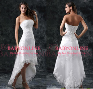 Hi-low Lace Elegant Aline Wedding Dresses 2020 Strapless Appliqued Cheap Beading Wedding Gowns Backless Short Bridal GownCPS110