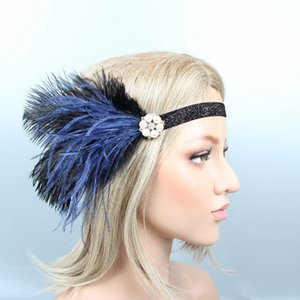 Wholesale Black Navy Feather Pearls Elastic Headband Catwalk s Indian Hippie Jewelled Hair Bands Gatsby Headdress with Pearls