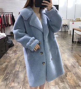 Wholesale 2019 best selling ladies blue white red shearling winter outerwear coats lapel neck x length women clothing