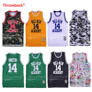 Wholesale The Fresh Prince of Bel Air Stitched Will Smith Jersey Bel Air Academy Movie Version Jersey Black White Green Yellow