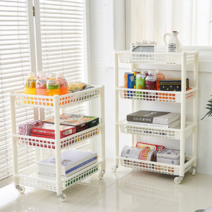 Wholesale mobile shelving resale online - 4 layer Mobile shelf Trolley Rack Narrow Space Shelving Rolling Pantry Shelves Holder Storage Organizer Shelf on Wheels Kitchen T200320