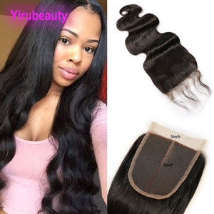 Peruvian Virgin Hair Cambodia 5X5 Lace Closure Body Wave Human Hair Top Closures 8-24inch Natural Black Body Wave 5*5 Closure With Baby Hair