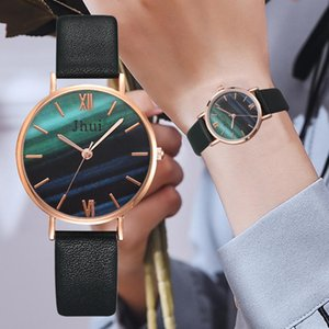 Woman Watch Simple Dark Green Water Color Dial Leather Strap Ladies Jewelry Top Brand Fashion Casual Wristwatch Montre Femme@50