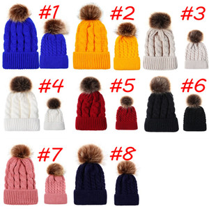 Factory Direct Autumn and Winter Ball Twist Knitting Cap Warm Female Parent-child Imitation Braid Hair Bball Wool Cap
