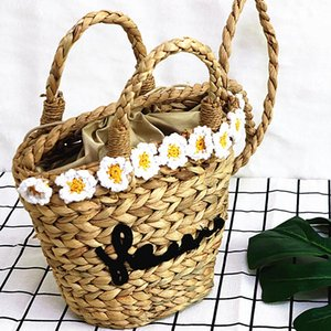 Wholesale Medium String Basket Beach Bag Women Hand Woven Round Straw Bags Natural Oval Beach Bag Flowers Tote Circle Handbag Dropshipping