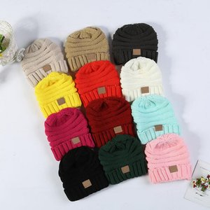 Wholesale Fashion Baby Hats CC Trendy Beanie Crochet Beanies Outdoor Hat Winter Newborn Beanie Children Wool Knitted Caps Warm Beanie BH55