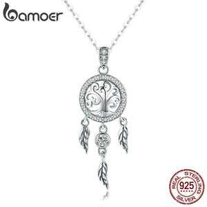 Wholesale dream of silver necklace resale online - BAMOER Real Sterling Silver Tree of Life Fashion Dream Catcher Pendant Necklaces for Women Sterling Silver Jewelry SCN298