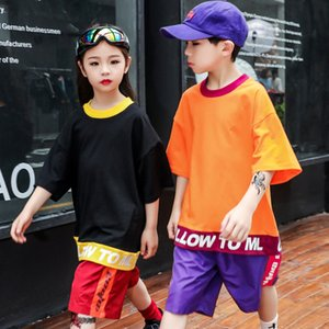 Wholesale Child Hip Hop Dance Clothing for Girls Boys Short Sleeve T Shirt Performance Show Stage Pants Jazz Ballroom Dancing Costume Wear