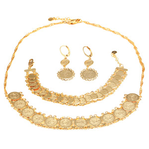 New Coin Set Jewelry Women's Fashion Coin Style Necklace Chain Earrings Bracelet Ethiopian Jewelry Set