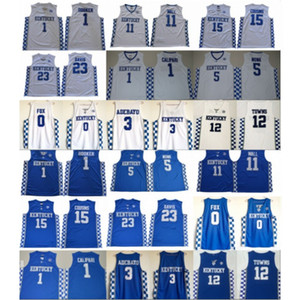 Wholesale NCAA Kentucky Wildcats College 0 Fox 5 Monk 3 Adebayo John 11 Wall 12 Towns 15 Cousins Anthony 23 Davis Devin 1 Booker Basketball Jersey