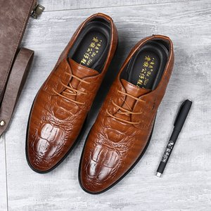 Wholesale mens leather breathable dress shoes resale online - 2020 New Mens Shoes Summer Crocodile Leather Shoes Mens Cross Border Korean Style Pointed Business Dress Mens Breathable Hair Stylist Shoes