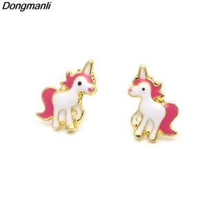 Wholesale stub earrings resale online - Fashion Dongmanli pairs Unicorn Kids Earrings Jewelry Gift For Girls Cartoon Women Enamel Stub Earrings Brincos