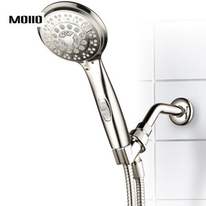Wholesale MOIIO Modern Design Hand held shower head Spray SS Hand Shower with On Off Pause Switch on Handle3 Function Brushed Nickel