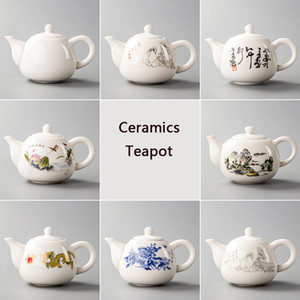 yixing de chá chinês venda por atacado-Cerâmica Bule Yixing Tea Pot Branco Porcelana Tea Define chinês Bule Único Chaleira Kung Fu Teaset Infuser China Tea Cups D001