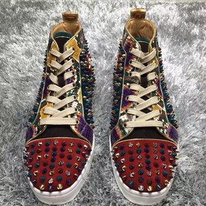 Wholesale Prefer Gift Spikes High Top Red Bottom Studded Sneakers Shoes Women,Men Luxury Designer Flat Casual Red Sole Autumn Winter Trainers 35-46