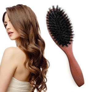 Wholesale beard straightening comb resale online - Hair Brush Wood Handle Boar Bristle Beard Comb Styling Detangling Straightening
