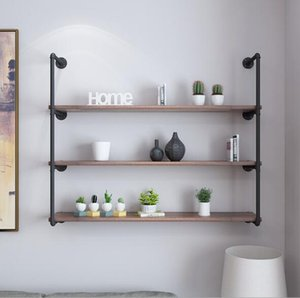 Wholesale Iron water pipe shelf can be customized for industrial wind room decoration wall hanging one word partition wall multi storey shelf