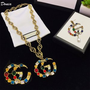 Donia jewelry fashion letter earrings necklace brooch three piece wedding jewelry ladies banquet set decoration gift