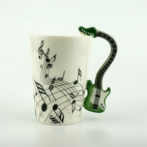 Wholesale Eco Friendly Creative Novelty Guitar Ceramic Personality Music Note Milk Juice Lemon Mug Coffee Tea Cup Home Office Drinkware Unique Gift