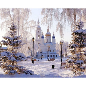 Wholesale snow castle Landscape DIY Digital Painting By Numbers Modern Wall Art Canvas Painting Christmas Unique Gift Home Decor x50cm