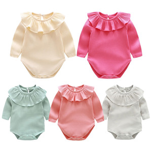 Wholesale 5 Colors Baby Girl Romper Suit Kid Boutique Clothing Toddler Onesies Solid Long sleeve Jumpsuit Bodysuit Ruffles Cute Autumn clothes M662