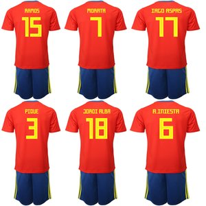 Wholesale 2019 Spain National Team New Customize Home Football Jerseys Sets RAMOS MORATA SERGIO Uniforms Soccer Jerseys Sets Shirt Kits For Men