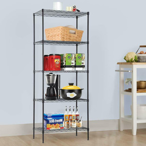 "5-Shelf Heavy Duty Steel Wire Tier Layer Shelving 60""x24""x14"" Storage Rack Black"