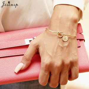 Wholesale Jisensp Trendy Tie Knotted Open Cuff Bangle Rose Gold Sliver Coin Letters Initial Charm Bracelets Wire Love Bangles for Women