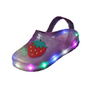 Wholesale girls Jelly fruit Strawberry banana slippers with led light summer kids Non slip Hole Glowing Beach sandals Shoes size