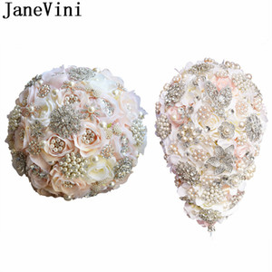 Wholesale JaneVini Luxury Waterfall Bride Flower Bouquet Crystals Sparkly Beaded Pearls Bridal Wedding Bouquet Pink Champagne Rose Jewelry