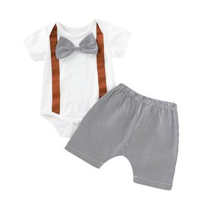 Wholesale Summer Baby Boy Suit Thin Section Cotton Stitching Bow Tie Short Sleeve Romper Top Elastic Striped Shorts Piece Set