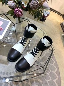 2019 spring fall Womens black white twotone real leather with Fabric canvas luxury gold buckle strap combat ankle booties Military Boots