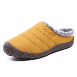 Wholesale Hot Sale Winter Men Womens Shoes Half Slippers Plus Velvet Warm Scuffs Thick Slippers With Box Large size