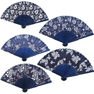 Wholesale Flower Design Chinese Style Blue Fabric Hand Fan With Dyed Blue Bamboo Frame Wedding Party Favor