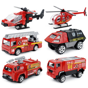 6PCS Set 1:87 Firefighter Fire Fighting Truck Engine Helicopter Control Operator Protection Fireman Kids Toys Boys for sam SH190910
