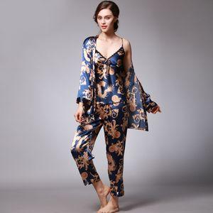 Qweek Sexy Sleep Lounge 3 Pieces V-neck Women Pajamas Set Elegant Print Long Sleeve Pyjamas Women Sleepwear Women NightwearMX190822