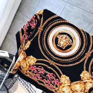 Wholesale Wholesale-The famous style 100% silk scarves of woman and men solid color gold black Neck print soft fashion Shawl women silk scarf square