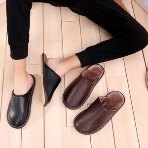 Shoes Men Indoor Use Shoes Leather Slippers Fashion Home Hose Slippers NA240