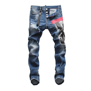 Famous Brand Fashion Hip Hop Long Men Jeans Straight Dark Blue Motorcycle Mens Causal D2 Jeans Tide Distressed Ripped Jeans Luxury trousers on Sale