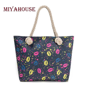 Miyahouse Casual Denim Design Beach Bag Women Lips Printed Tote Handbag Bag Female Large Capacity Handbags Ladies Shopping