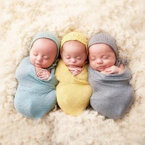 Wholesale Newborn Baby Solid Color Swaddling Summer Receiving Blankets Cotton Yarn Elastic Blankets Photography Props cm Colors