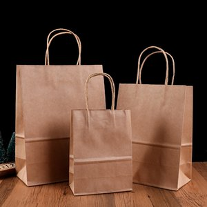 Wholesale Colorful Kraft Paper Bags Weeding Party Gift Packing Bags with handles Clothing carrier bag Wedding gift bags kraft paper shopping bag