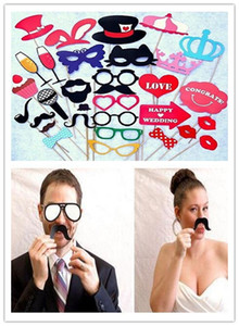 Wholesale Hot Festive Garden set Wedding Photo Booth Props Party Decorations New catglass Supplies Mask Mustache for Fun Favors photobooth