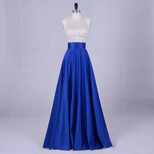 Wholesale Beaded Satin Prom Dresses with Halter Neck 2019 Floor Length Evening Gowns Backless Formal Dress